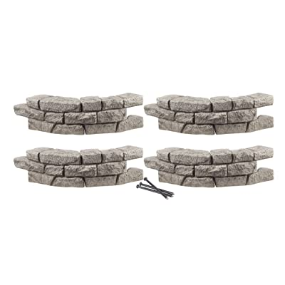 RTS Home Accents Rock Lock Interlocking Border System Curved Section With Spikes, 30-Inch Long, 4-Pack : Garden Edging : Garden & Outdoor