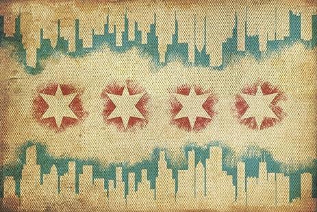 Amazon.com: Chicago, Illinois - Flag and Skyline Tapestry (9x12 Art ...