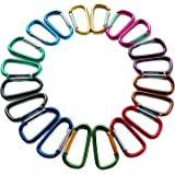 "2""/5cm Carabeaner Assorted Colors D Shape Spring-loaded Gate Aluminum Carabiner for Home, Rv, Camping, Fishing, Hiking, Traveling and Keychain, Pack of 20"