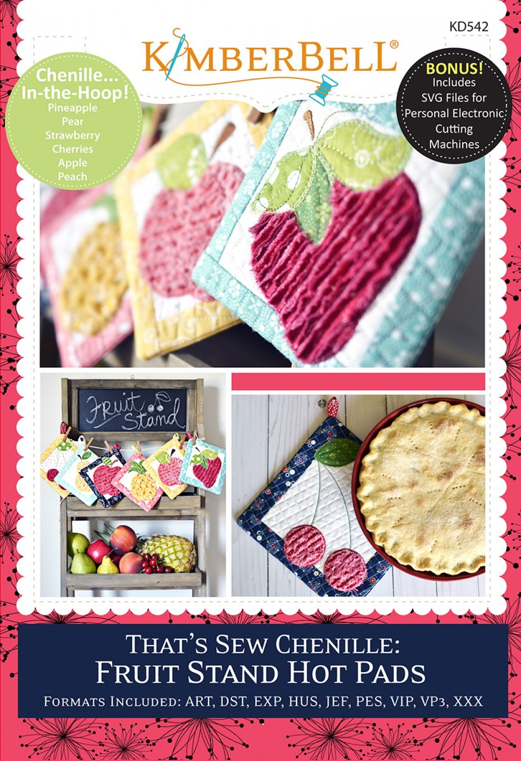 That's Sew Chenille: Fruit Stand Hot Pads - In The Hoop Machine Embroidery  Designs with CD by KimberBell KD542