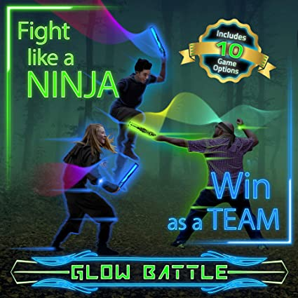 Starlux Games Glow Battle: A Ninja Game for Kids, Teens and The Whole Neighborhood - Use Glow-in-The-Dark Foam Weapons to Channel Your Inner Samurai ...