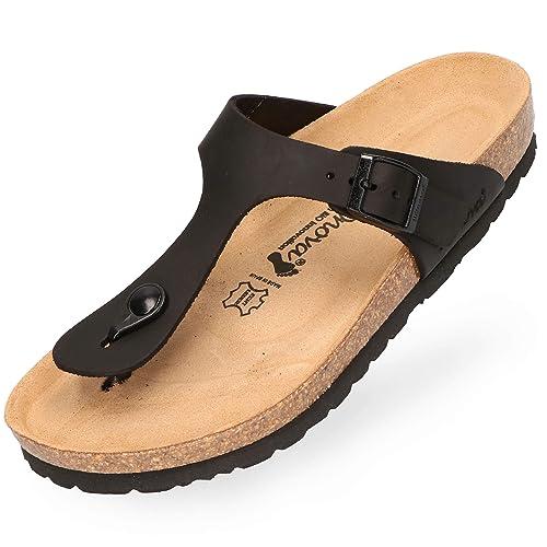 promo code 8d73d cea74 BOnova Damen Zehen-Trenner Ibiza aus hochwertigem Echtleder, stylische  Pantolette mit Kork-Fußbett - Sandalen zum Wohlfühlen - hergestellt in der  EU