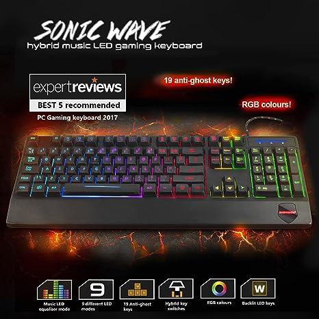 Sumvision Nemesis Videojuego Serie Sonic Wave Híbrido Música Led teclado