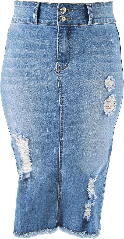 Womens Junior/Plus Size Below Knee Length Midi Pencil Ripped Denim Skirt