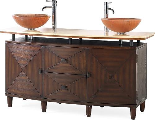 63 Onyx top Double Vessel Sink Bathroom Vanity -Q0136-D Verdana