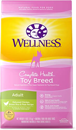 Wellness Natural Pet Food 76344891215 Complete Health Natural Dry Toy Breed Dog Food, Chicken Rice, 4-Pound Bag