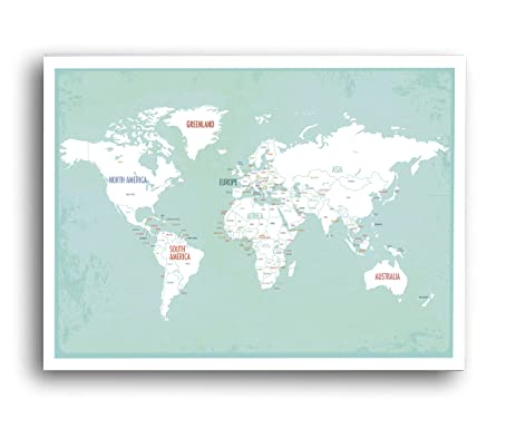 Amazon world map wall art travel map world map print wall world map wall art travel map world map print wall art for kids gumiabroncs Images