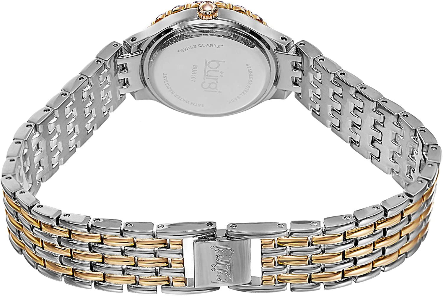 Burgi Women's Crystal Accented Watch - Mother of Pearl Dial Stainless Steel Bracelet - BUR107 Silver/Yellow Gold