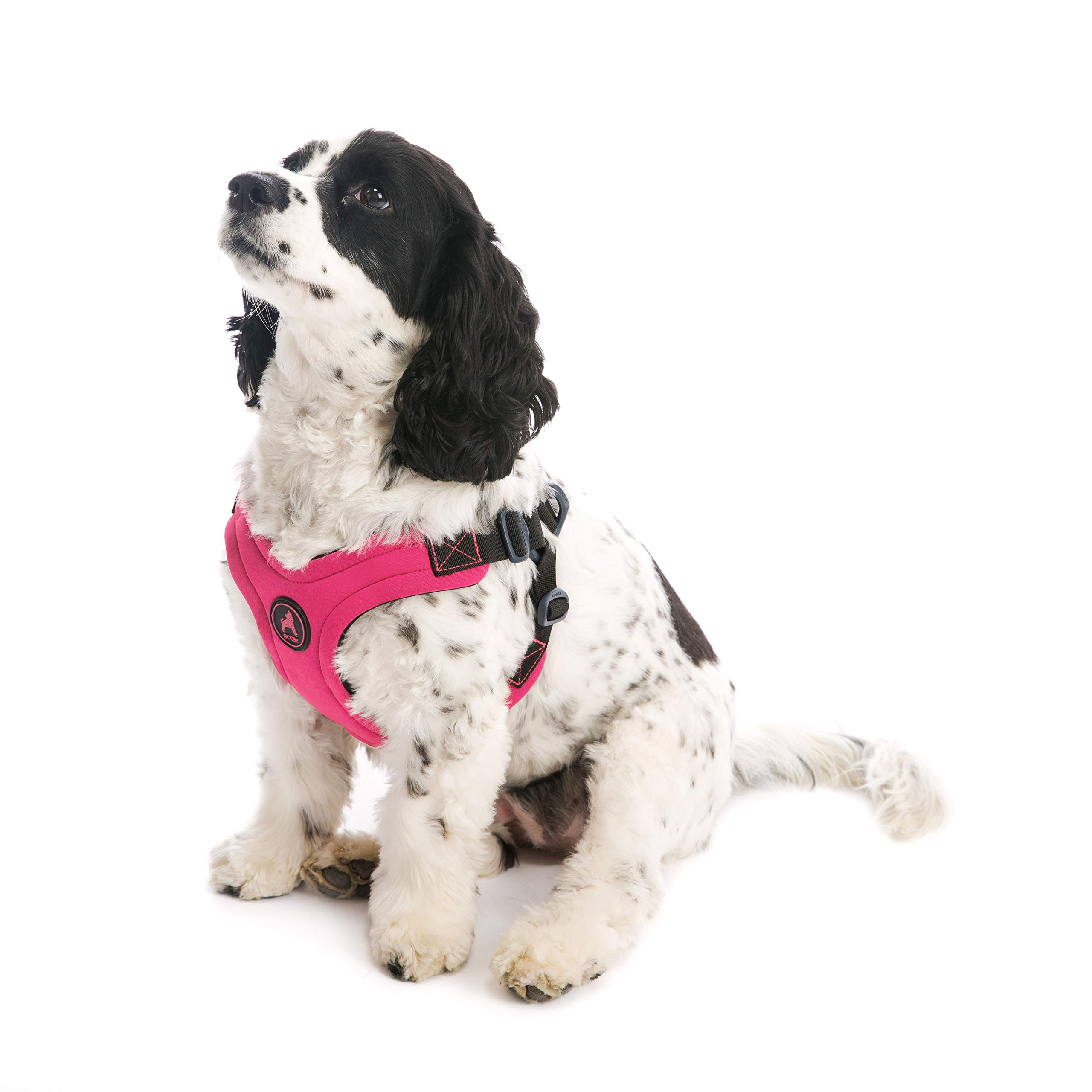 Gooby - Escape Free Sport Harness, Small Dog Step-In Neoprene Harness for Dogs that Like to Escape Their Harness, Pink, Large