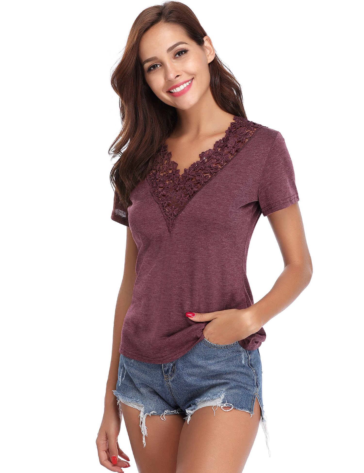 Abollria Women's Lace Short Sleeve T-Shirt Tee V Neck Blouse Casual Tops (Red,L)