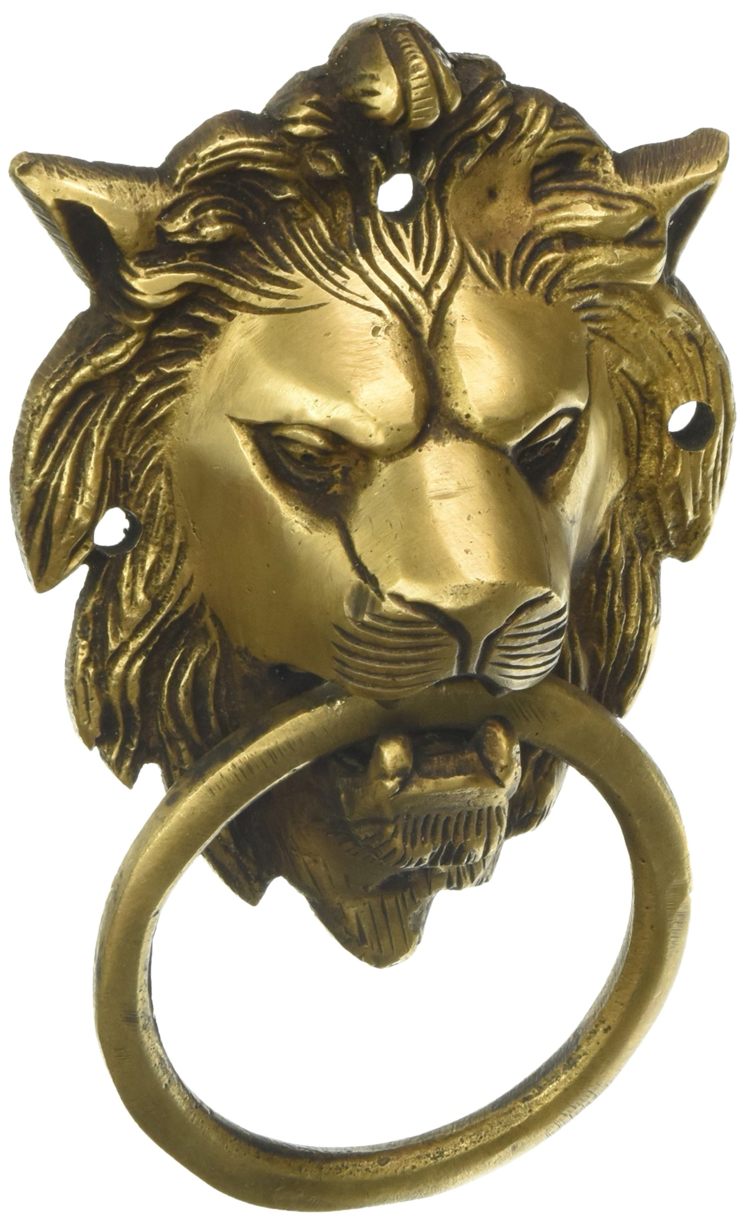 MP Crafts Brass Hand Carved Lion Head Door Knocker Antique Look for Home Door, Shop Door, Decorative, and Gift by MP Crafts