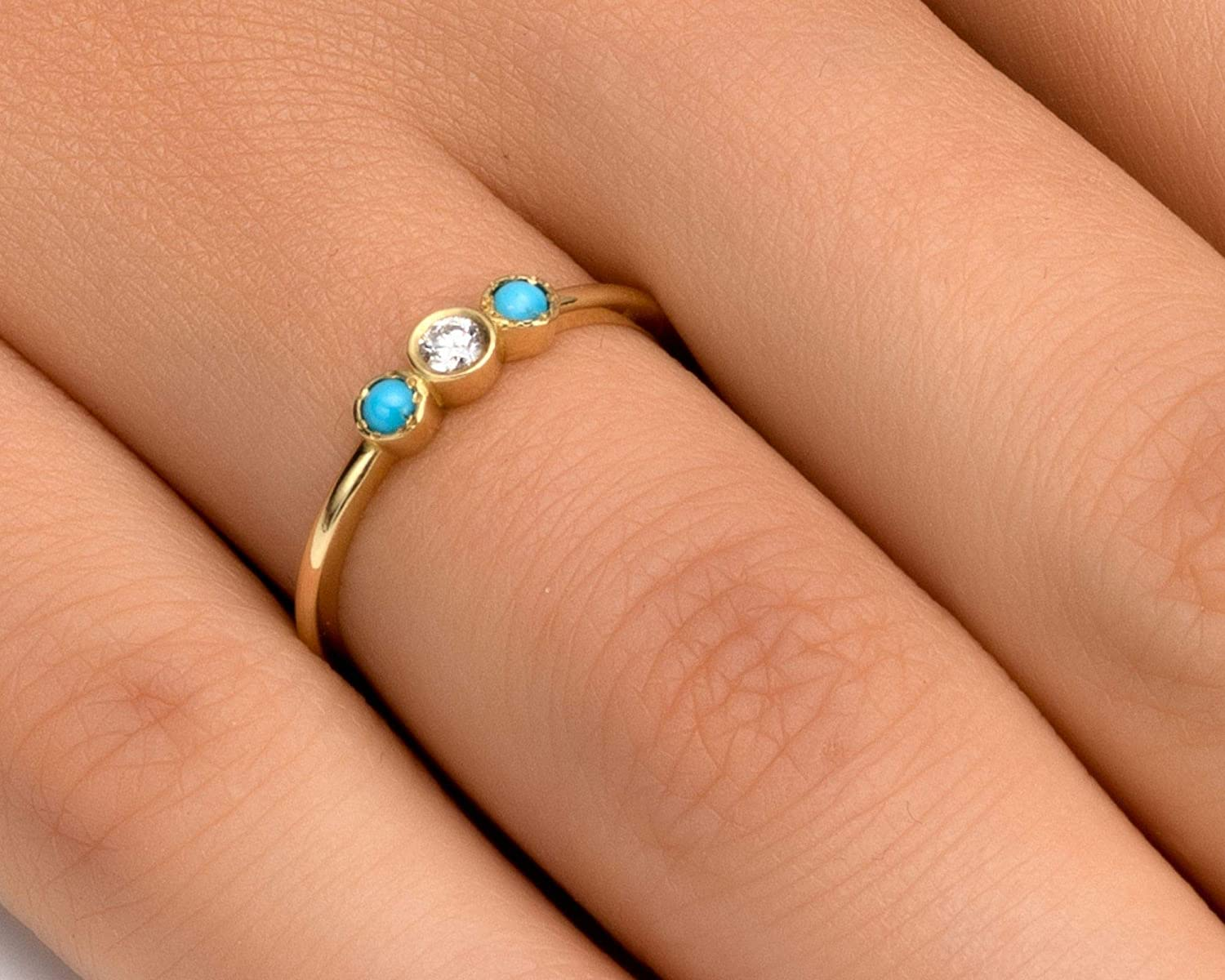 Diamond Engagement Ring or Wedding Band Rose or Yellow Solid Gold Modern Stacking Handmade Stacking Jewelry in 14k//18k White Diamond Ring for Women Multi Stone Turquoise and 0.05 ct 4-14US