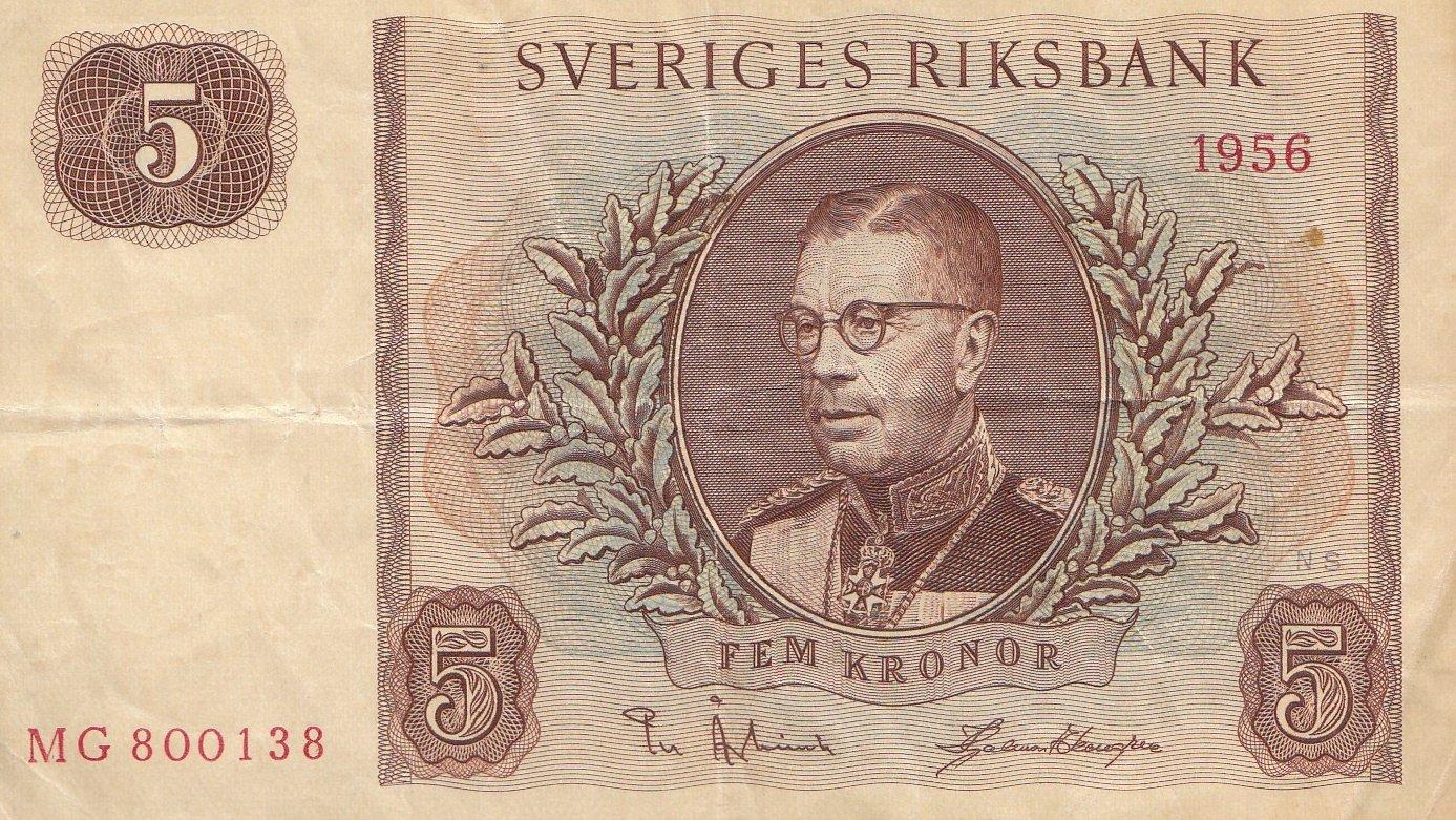 Generic Schweden Pick-Nr: 42c Gebraucht (III) 1956 5 Kronor Gustaf VI. Adolf (Banknoten für Sammler) Coins of Germany