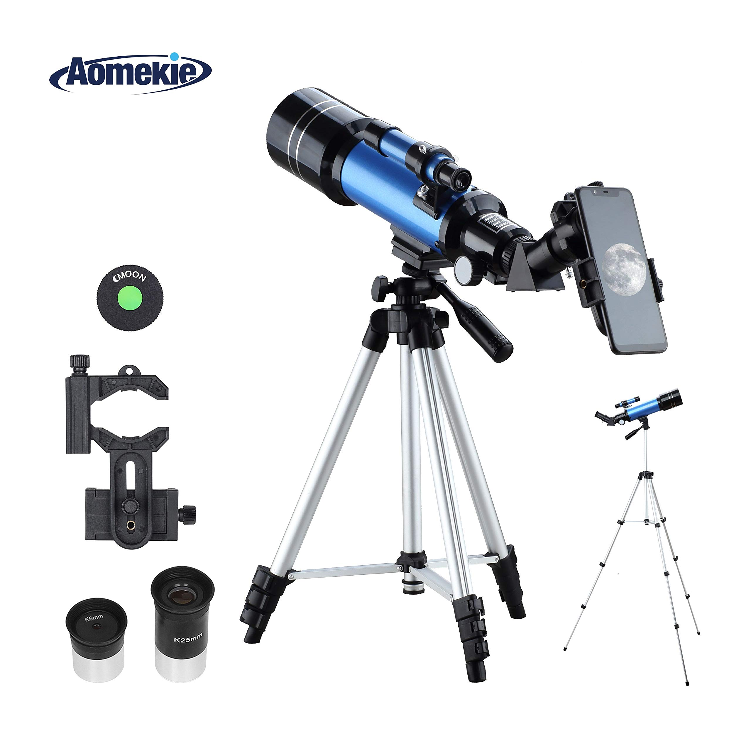 Aomekie Kids Telescope for Adults Astronomy Beginners 70mm Refractor Telescopes with Adjustable 51inch Tripod Phone Adapter Finderscope Erect-Image Diagonal and Moon Filter by AOMEKIE