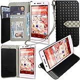 【ストラップ2種付】Huawei Y!mobile STREAM S 302HW ケース 手帳型 カバー 手帳型 【GTO】お洒落な2トーンカラー オリジナルハンドストラップ&ネックストラップ付 3点セット PUレザー&高品質アンチグレアTPUケースを使用した手帳型PUレザーケース ブラック