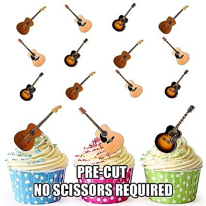 Guitarra acústica de pre-cut tarta decoraciones - 12 oblea ...