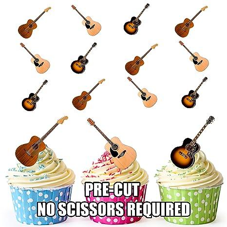 Guitarra acústica de pre-cut tarta decoraciones – 12 oblea comestible cup cake toppers