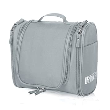 272fa98198e3 Cadtog Hanging Toiletry Bag for Travel, Cosmetic Kit, Large Essentials  Organizer, Sturdy Hook, Makeup Bag, Waterproof for Men and Women, Grey