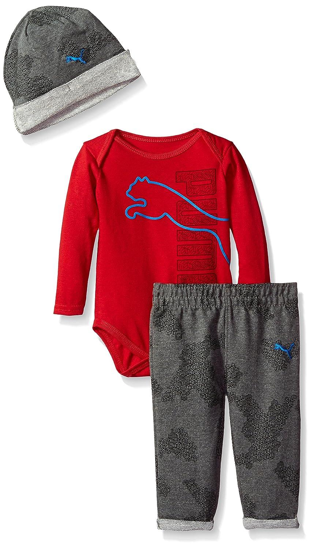 0e873b4f49023 Amazon.com: PUMA Baby Boys' Three Piece Pant, Bodysuit and Hat Set ...