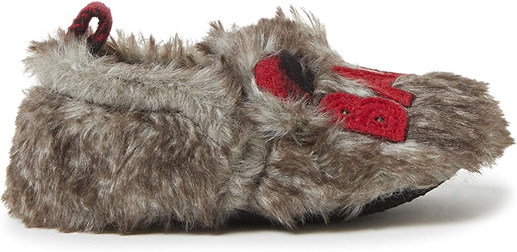 Small Size Laid Back Kids Fluffy Buffy Snuggle Slippers 10-11 Grey