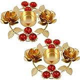 Shalinindia Set Of 2- Home Decorations Diwali Diya Lights Candle Holder Floral Arrangements