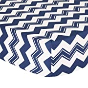 Navy Blue Zig Zag Fitted Crib Sheet - 100% Cotton Baby Boy Geometric Chevron Design Nursery and Toddler Bedding