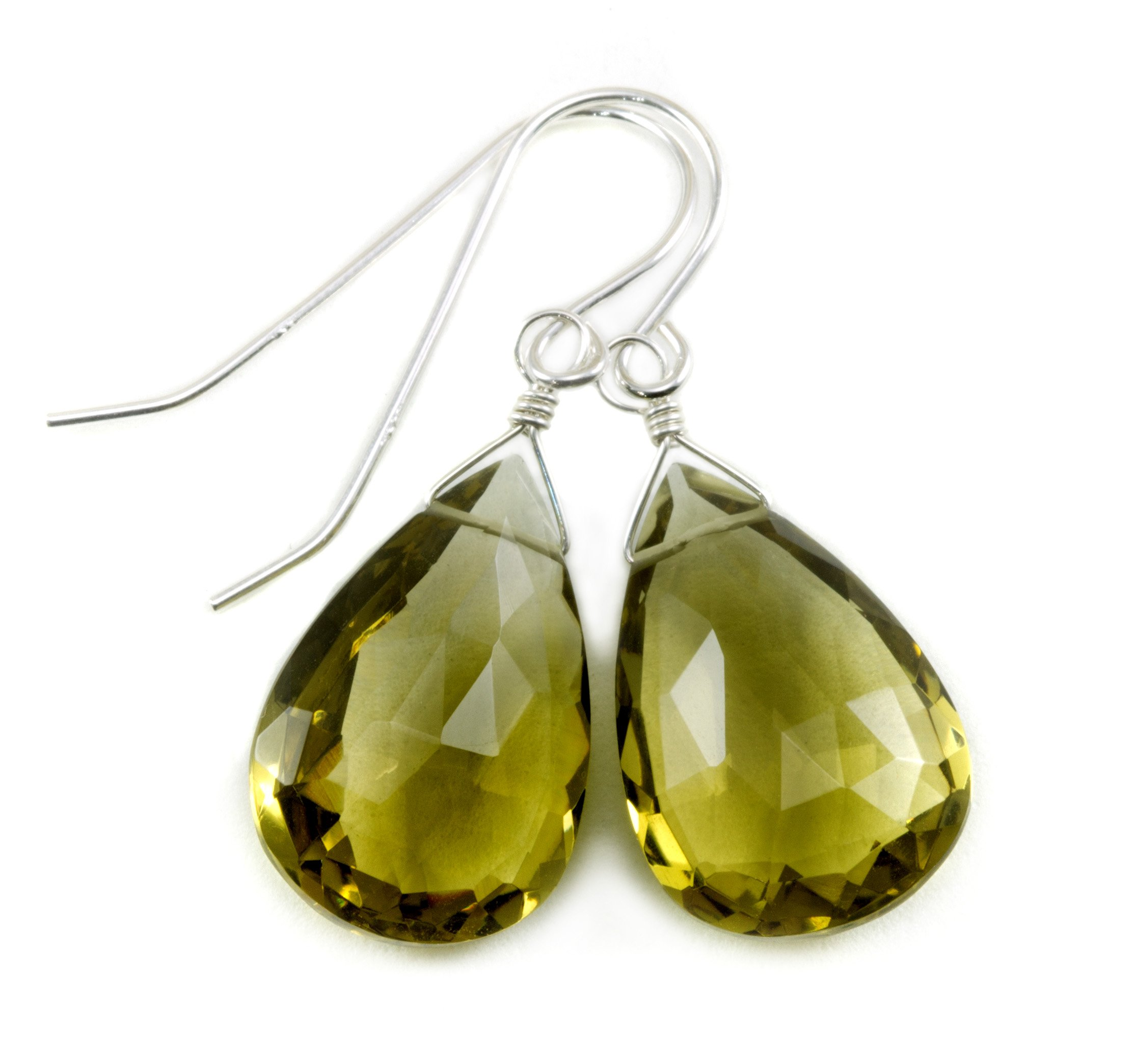 Sterling Silver Olive Green Quartz Earrings Faceted Briolette Large Teardrops by Spyglass Designs