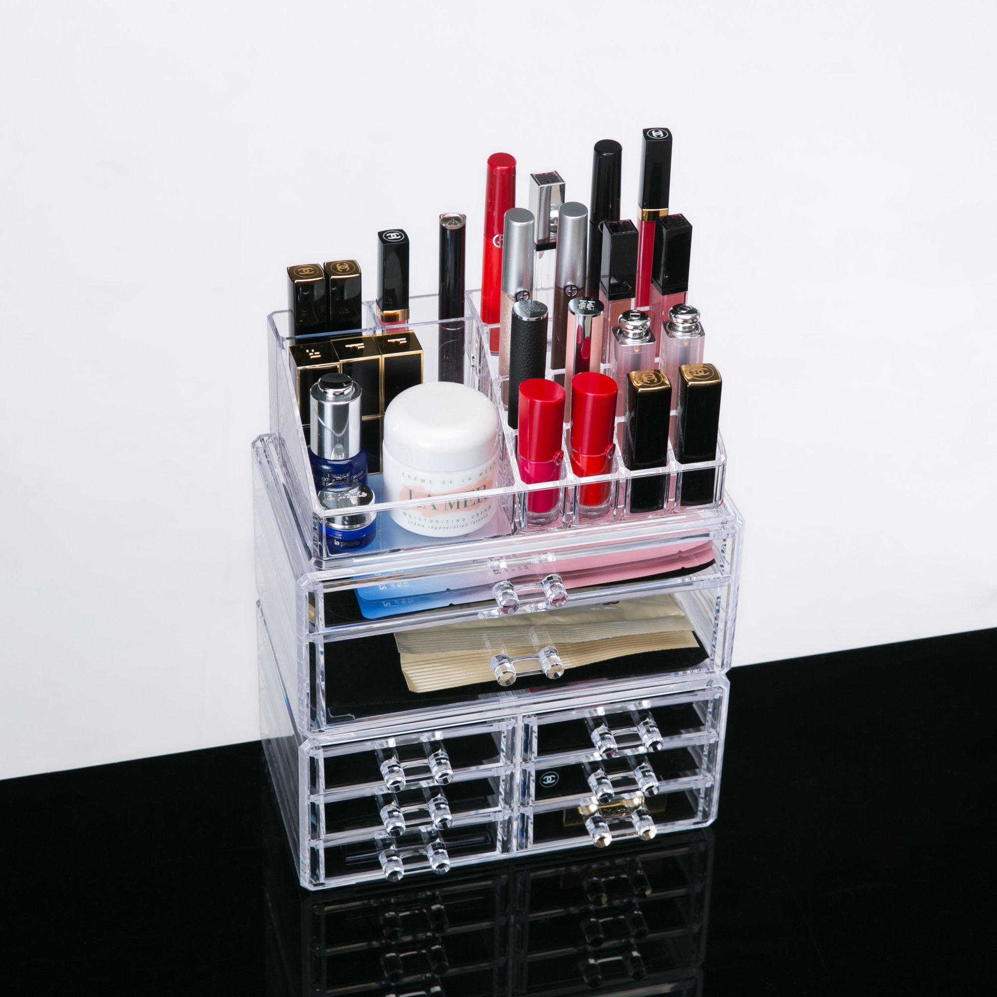 Clear Acrylic Cosmetic Storage Organizer, Boxes Makeup and Jewelry Organizer 8 Drawers and 3 Piece Set with Removable Black Mesh Padding