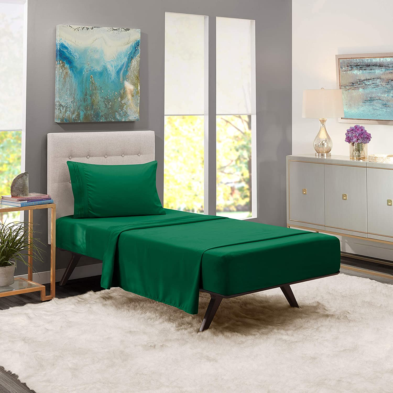 Twin Sheets - Bed Sheets Twin Size – Deep Pocket Hotel Sheets – Cool Sheets - Luxury 1800 Sheets Hotel Bedding Microfiber Sheets - Soft Sheets – Twin - Hunter Green
