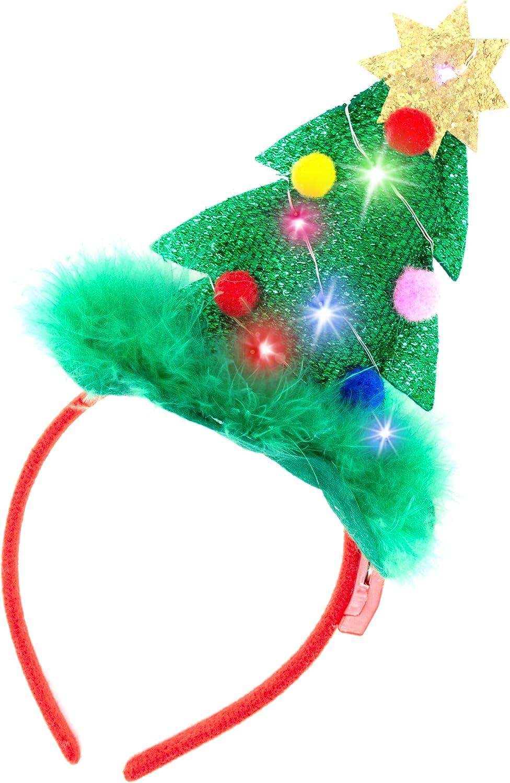 2 diademas de Navidad iluminadas con luces LED en dise/ño de sombrero de Pap/á Noel y /árbol de Navidad para Navidad y fiestas de vacaciones una talla para todos