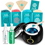 Yeelen Waxing Kit Wax Warmer Wax Beads Hot Wax Hair Removal with 4 packs Hard Wax Beans and 20 Wax Applicator Sticks for…