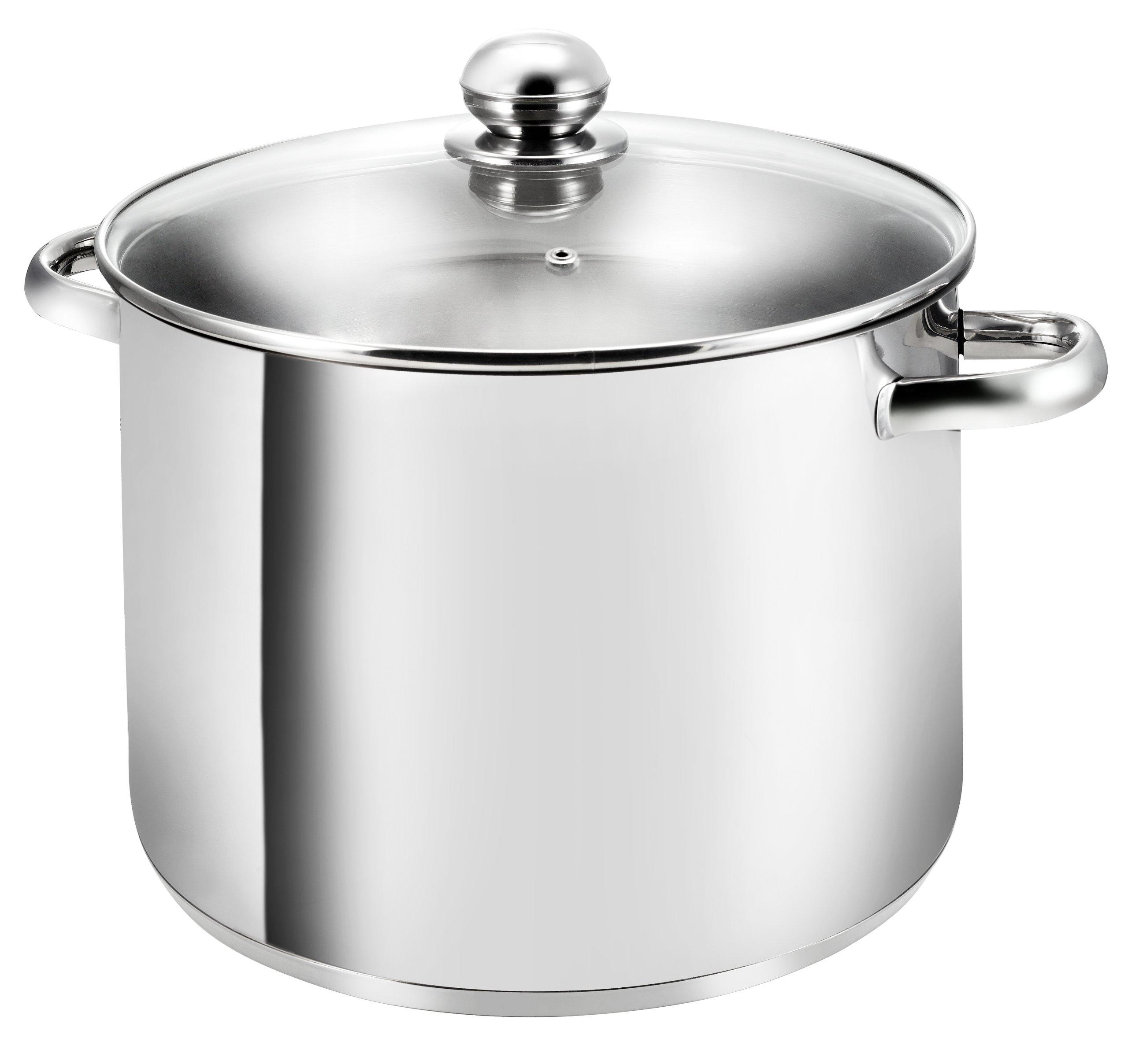 KOPF Gigant - Grand pot en inox avec couvercle en verre, Ø 28 cm, hauteur de 21 cm, 12,5 litres convient à induction product image