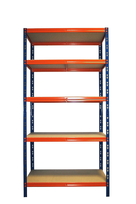 Steckregal Lagerregal Metallregal Garagenregal Kellerregal 180x90x60 cm 5 B/öden orange blau