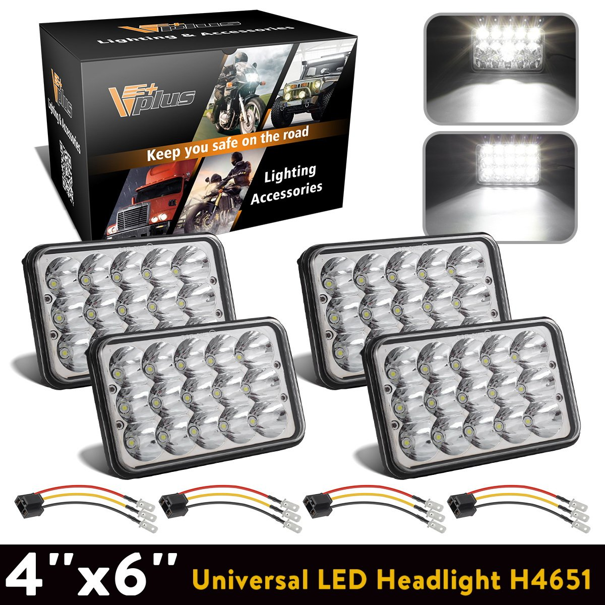 5x7 LED Headlights 7x6 Headlamps Osram Chip Angel Eye DRL Sealed Beam Replacement for H6054 6054 Jeep Wrangler YJ Cherokee XJ Chevy Express Astro Van Blazer S10 Toyota 4Runner Ford Ranger DOT 2PCS Vplus