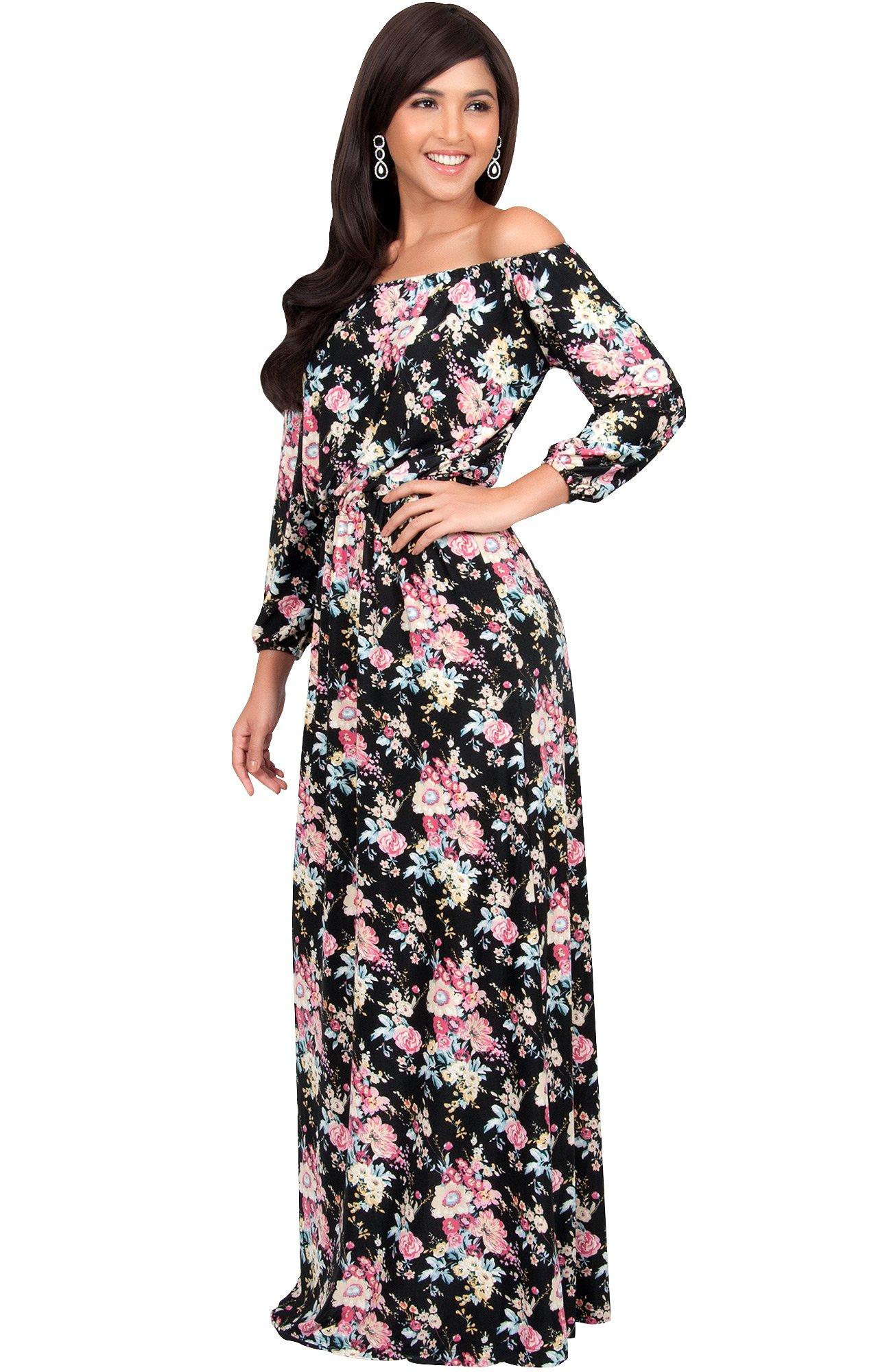 c4ef2bb491c ... Shoulder Summer Floral Print Cute Boho Long 3 4 Sleeve Hawaiian Beach  Jersey Sundress Casual Gown Gowns Maxi Dress Dresses