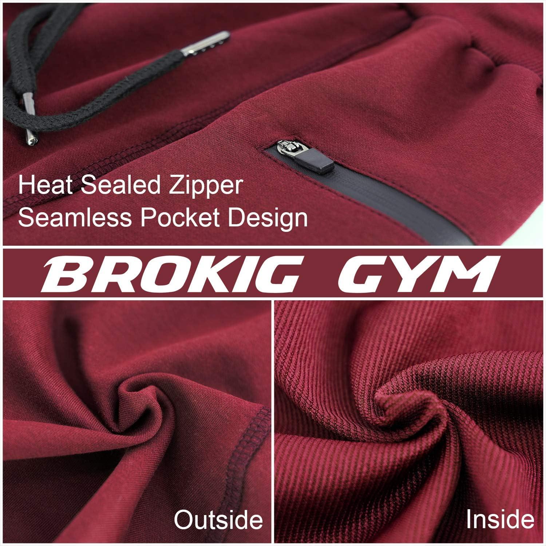 BROKIG Mens Sidelock Gym Workout Running Sport Shorts with Zipper Pockets