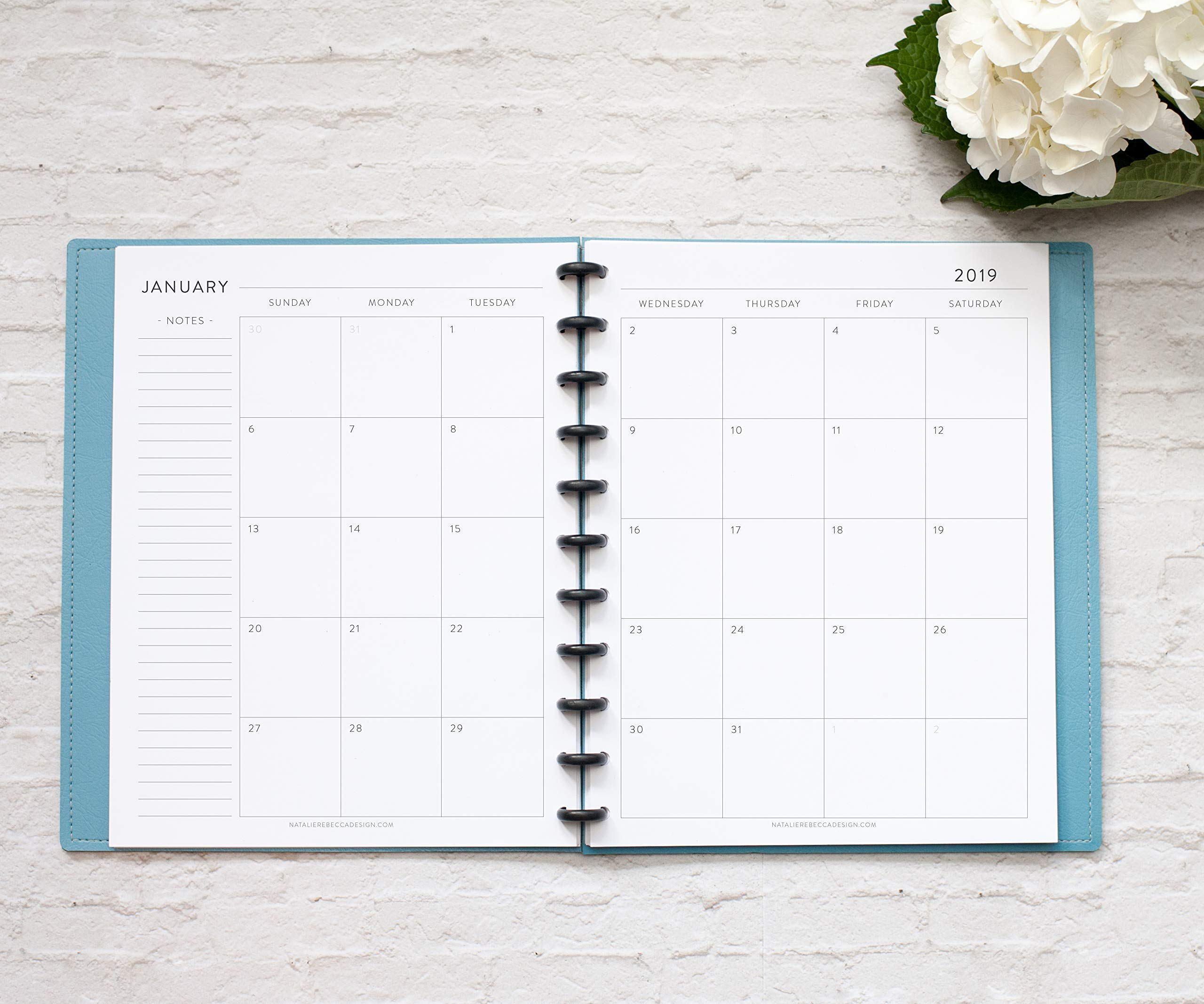 2019 Monthly Calendar for Disc-Bound Planners, Fits 11-Disc Circa Letter, Arc by Staples, TUL by Office Depot, Letter Size 8.5''x11'' Classic (Notebook Not Included)