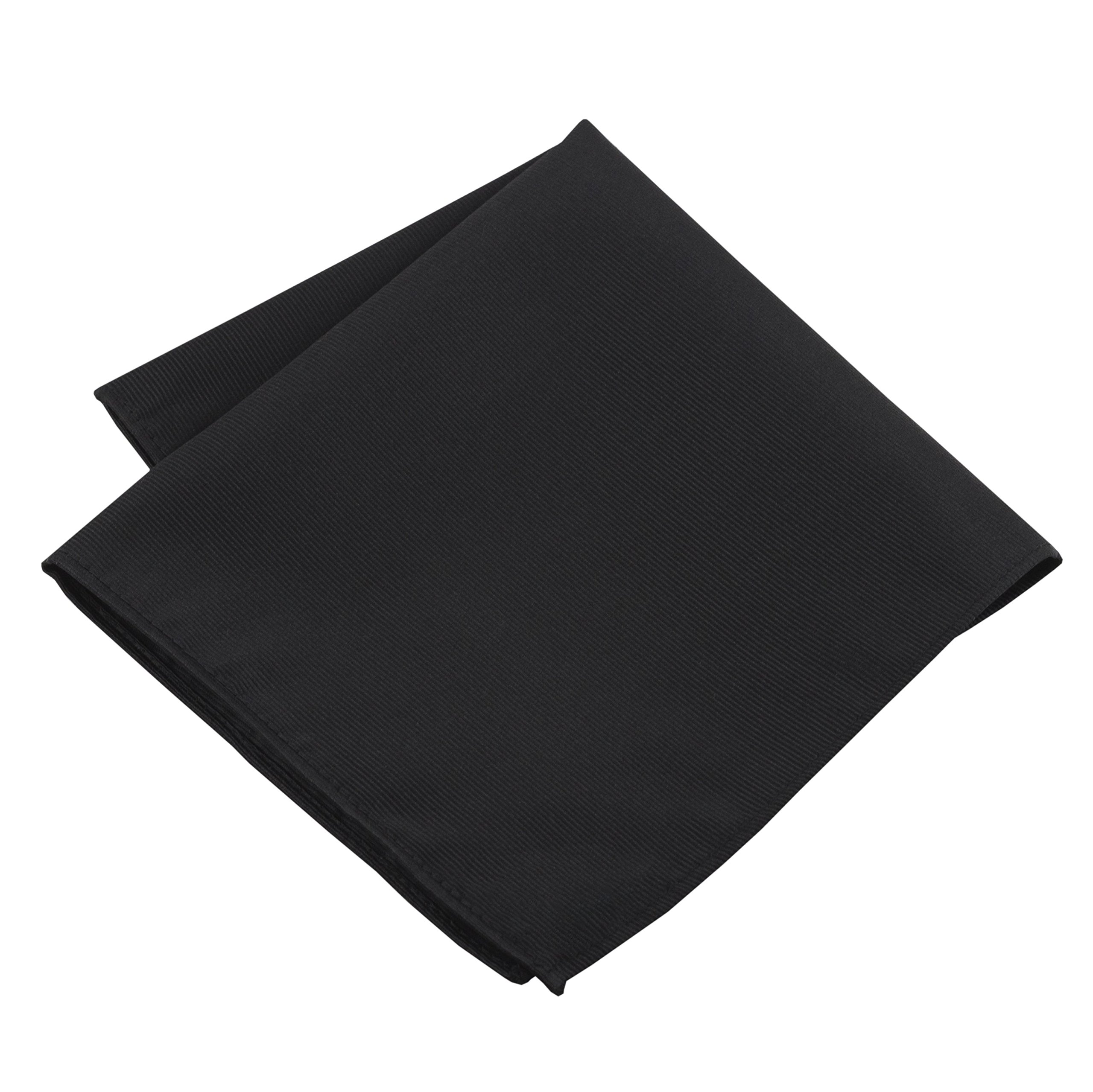 100% Silk Woven Black Pocket Square Handkerchief by John William