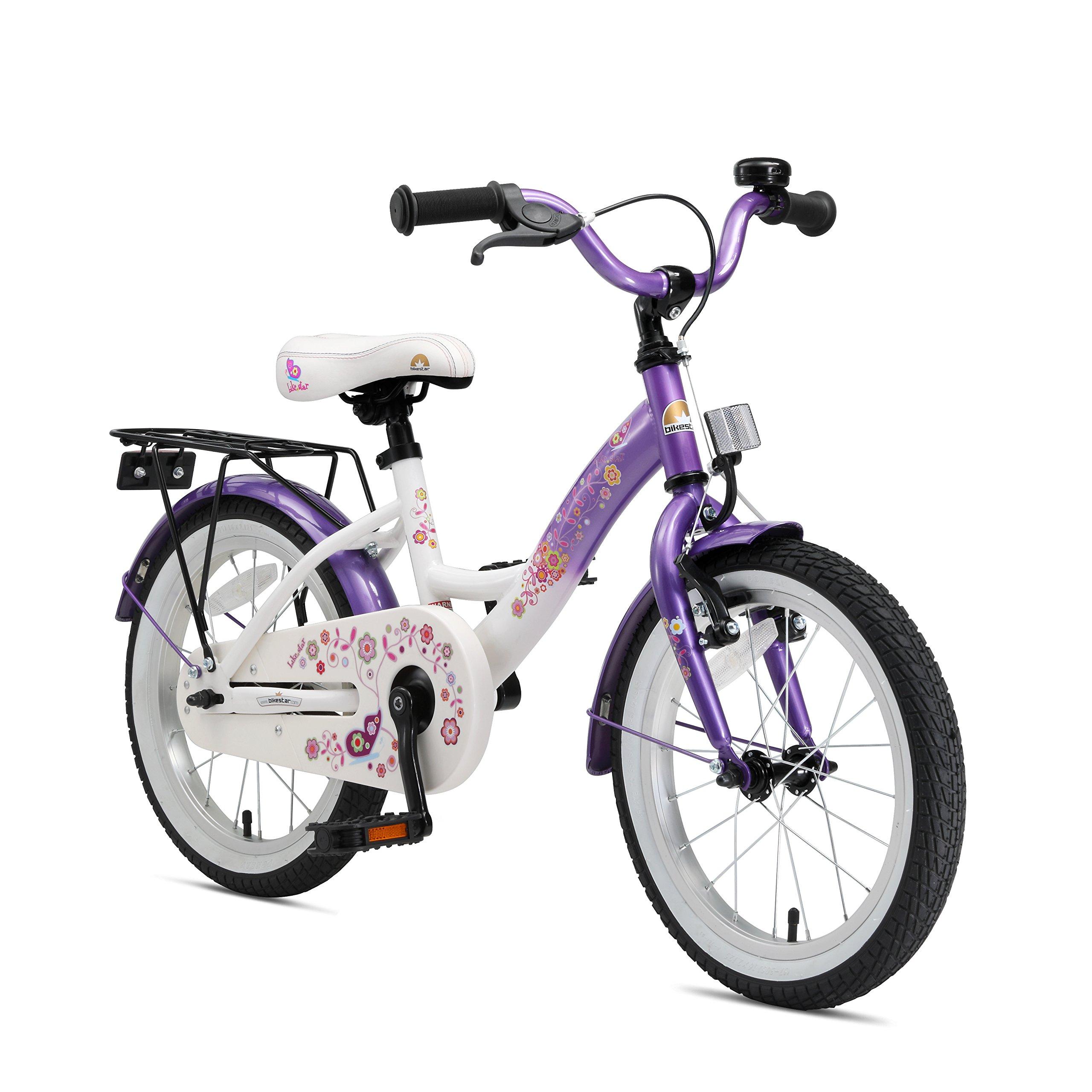 BIKESTAR Bicicleta infantil | Bici para niños y niñas 16 pulgadas | Color Lila | A