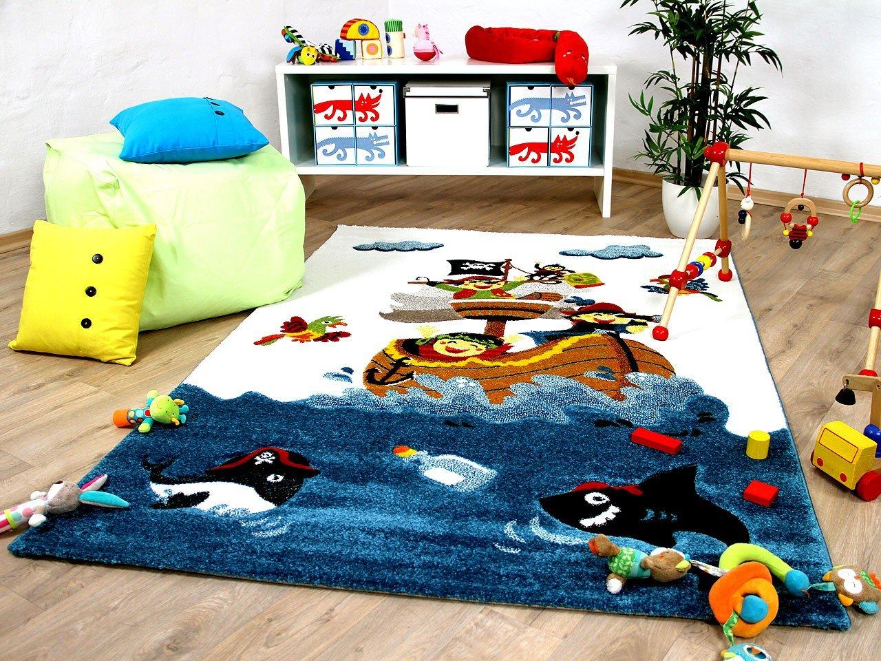 Maui Kids - Tapis pour enfant - motif bateau pirate bleu multicolore, Taille:140x200 cm