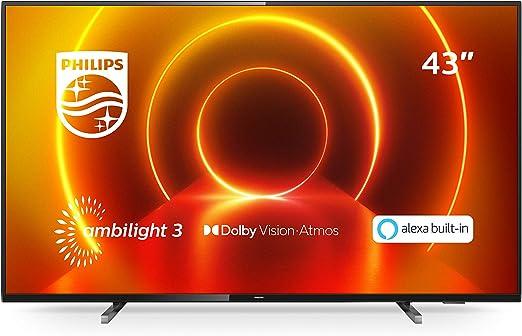 Philips 43PUS7805/12 - Televisor Ambilight 43 pulgadas (4K UHD, P5 Engine, Dolby Vision, Dolby Atmos, Control por voz, Alexa integrado, Smart TV), Color gris metálico (modelo de 2020/2021): Amazon.es: Electrónica