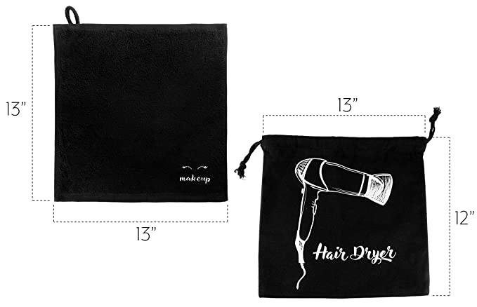 Amazon.com: Black Makeup Washcloths (6-Pack); Make-up Remover Face Towels + Bonus Hairdryer Bag (7-Piece Set): Home & Kitchen