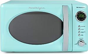Nostalgia RMO7AQ Retro 0.7 cu ft 700-Watt Countertop Microwave Oven, 12 Pre Programmed Cooking Settings, Digital Clock, Easy Clean Interior, Aqua