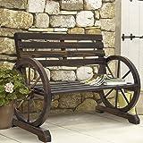 Everest_Shop BCP Patio Garden Wooden Wagon Wheel Bench Rustic Wood Design Outdoor Furniture