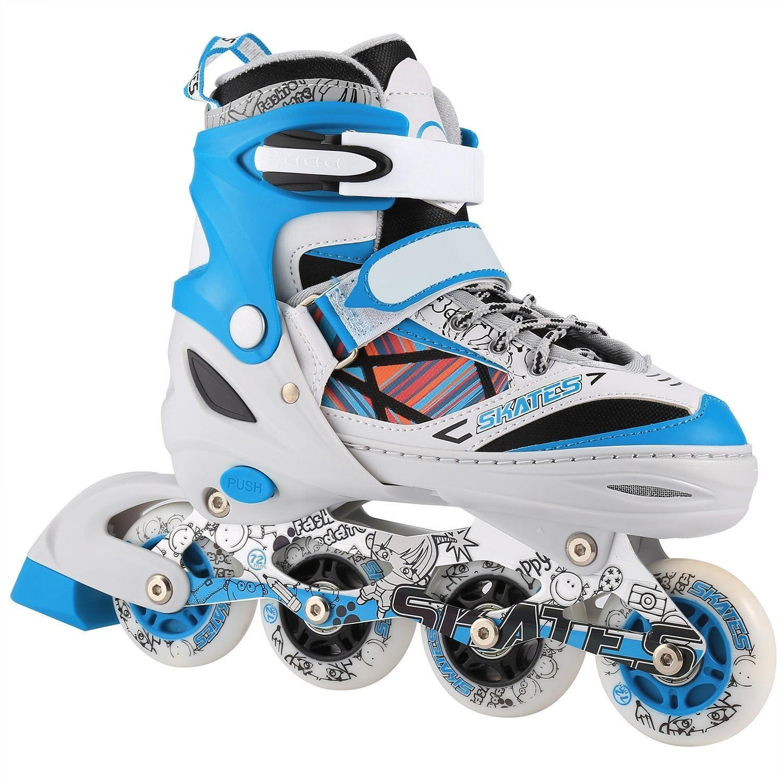 7783ae65399 Amazon.com : Evokem Kids Rollerblade Outdoor Adjustable Inline Skate, Kids  Girls Boys Roller Blades with 2 LED Glowing Wheels : Sports & Outdoors