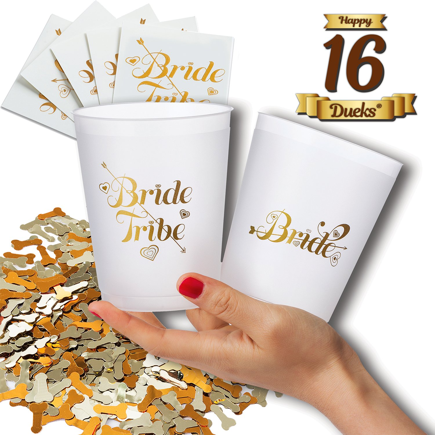 Bachelorette Party Bride and Bride Tribe Cups,16-oz Plastic Printed Cocktail Glasses & Metallic Confetti & 5 Bonus Tattoos-Fun Supply Kit for Hen Party/Bridal Shower/Girls Night,Cold Drinks/Beverages