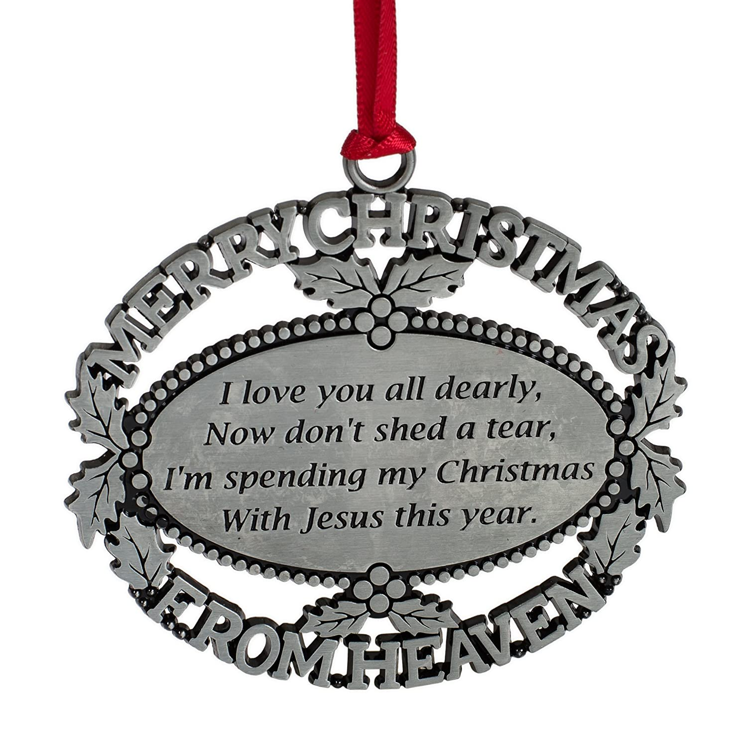 Christmas In Heaven Ornament.Merry Christmas From Heaven Pewter Finish Keepsake Memorial Ornament With Poem In Gift Box