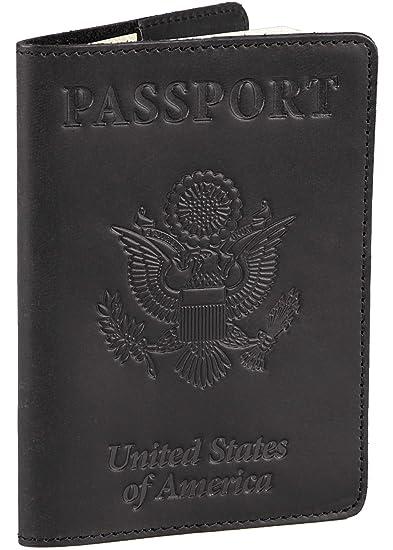 5740fddf39e Shvigel Leather Passport Cover - Holder - for Men   Women - Passport Case  (Black