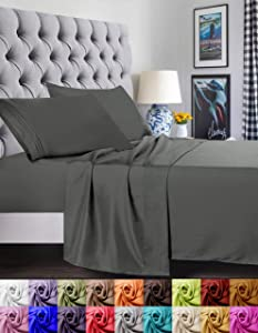 Elegant Comfort 1500 Thread Count Luxury Egyptian Quality Super Soft Wrinkle Free and Fade Resistant 4-Piece Bed Sheet Set, Full, Gray