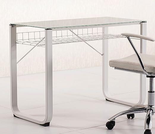 Mesa de estudio escritorio juvenil con cristal templado blanco de ...